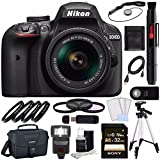 Nikon D3400 DSLR Camera with 18-55mm AF-P DX Lens (Black) + Sony 32GB UHS-I SDHC Memory Card (Class 10) + Remote + Card Readed + Tripod + Flash Bundle
