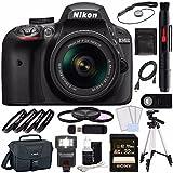 Nikon D3400 DSLR Camera with 18-55mm AF-P DX Lens (Black) + Sony 32GB UHS-I SDHC Memory Card (Class 10) + Remote + Card Readed + Tripod + Flash Bundle