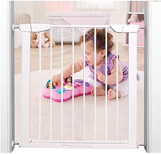 Puerta de seguridad del bebé Caminar a través de la cerca de la escalera Baranda Puerta