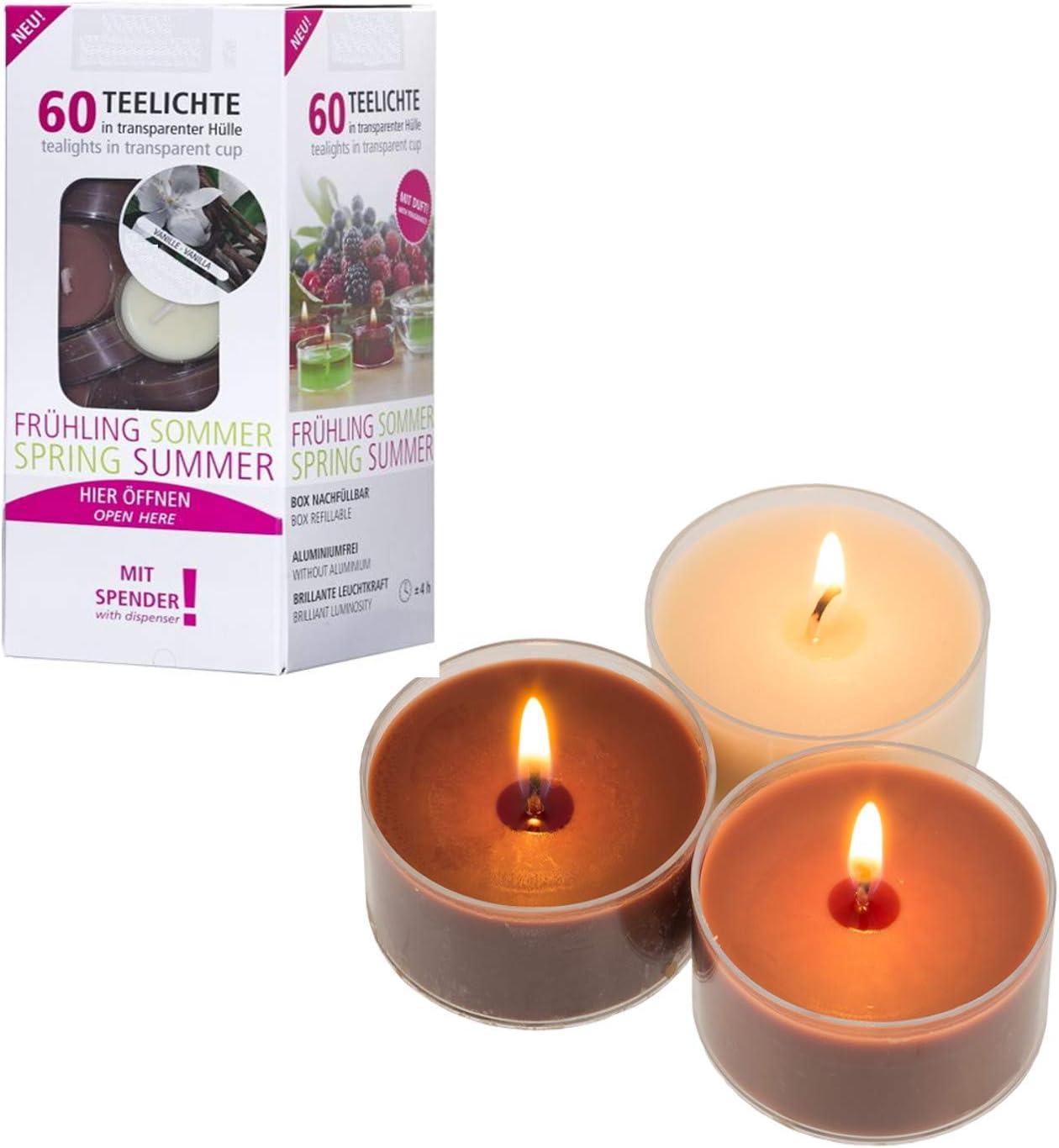 Smart-Planet/® Candele Ambiente 50 pezzi di candele profumate alla vaniglia Candeline con profumo di vaniglia 50 x in custodia di plastica trasparente