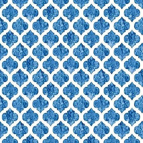 Tela por metros de loneta estampada (0,50 x 2,80 m) | Celdas. Geométrico, azul