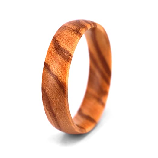 SOLEED Rings Wooden Wedding Band For Men And Women, 6mm Natural Olive Wood  Ring,