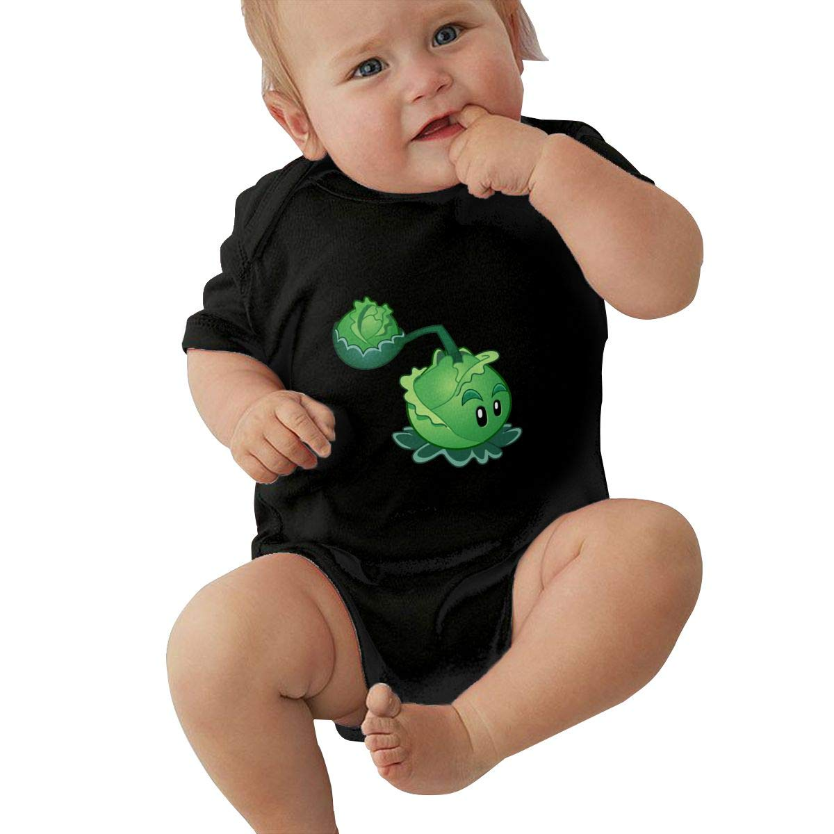 Runxin Baby Boys Girls O-Neck Short Sleeve Onesie Plants Vs Zombies Cabbage Funny Crawling Clothes Black