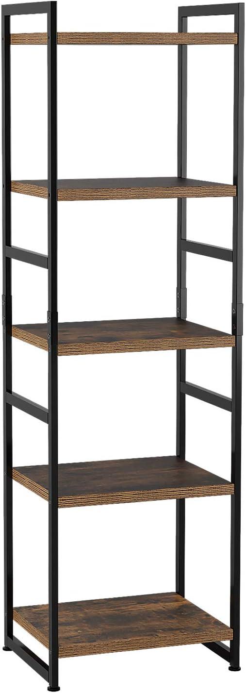 Homfa Estantería Almacenaje Estantería Metálica con Madera Estantería Librería para Salón Cocina Dormitorio con 5 Niveles Vintage y Negro 45 × 35 × 150cm