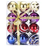 """Sea Team 60mm/2.36"""" Delicate Painting & Glittering Shatterproof Christmas Balls Decorative Hanging Christmas Ornaments Baubles Set for Xmas Tree - 24 Counts (Multi-colored)"""