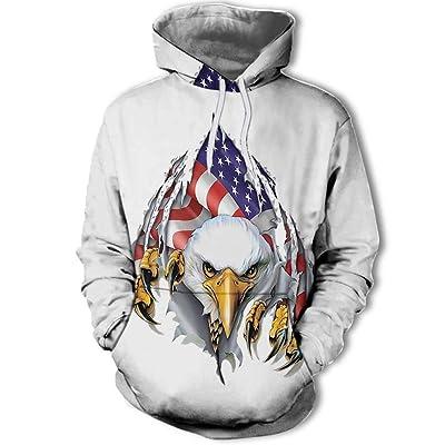 930 Unisex Fashion Momentum Eagle 3D impresión Digital suéter de los nuevos Hombres de la Moda, Sudadera con Capucha para Hombres y Mujeres, Blanco, M: Ropa y accesorios