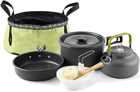 Ggpotte Camping Senderismo Cocina Al Aire Libre Olla Cafetera Lavabo Plegable Tazón Aleación De Aluminio Portátil 2-3 Personas: Amazon.es: Deportes y aire libre