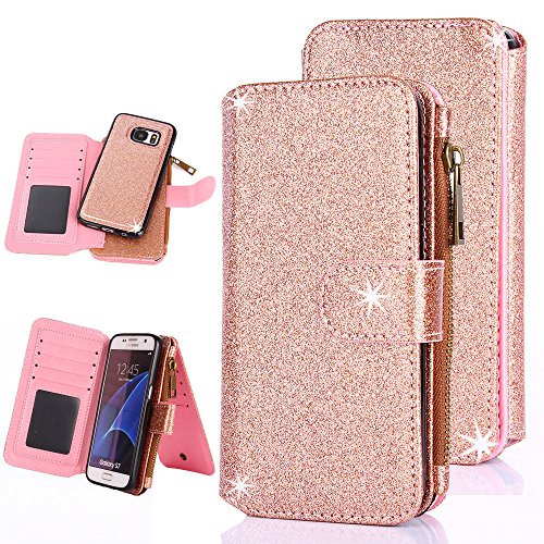 Galaxy S7 Case, CaseUp 12 Card Slot Series - [Zipper Cash Storage] Premium Flip PU Leather Wallet Case Cover With Detachable Magnetic Hard Case For Samsung Galaxy S7, Glitter Rose - Zipper Rose