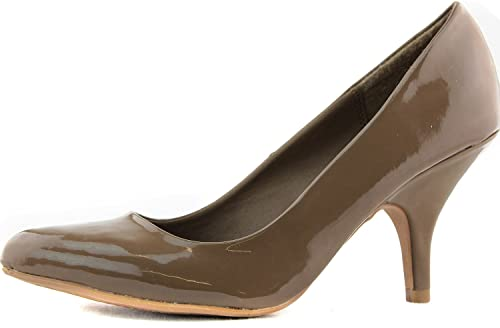 da2650103ae5 Qupid Women s Tanya-01 Taupe Patent Pu Leather Pointy Pumps Shoes