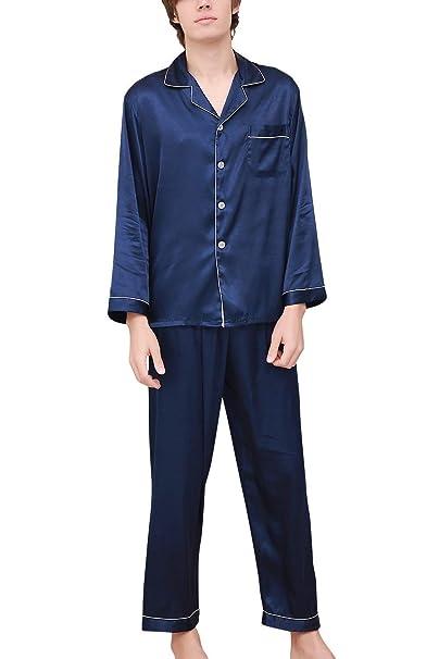 HX fashion Los Hombres Pijamas Pares De Raso Largo De Tamaños Cómodos Dos Piezas Pijamas Hombres
