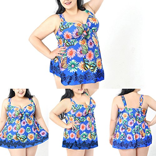 Zhhlaixing Retro Womens Elastic Swimming Dress Adult Fashion printing Plus Size Swimwear Blue