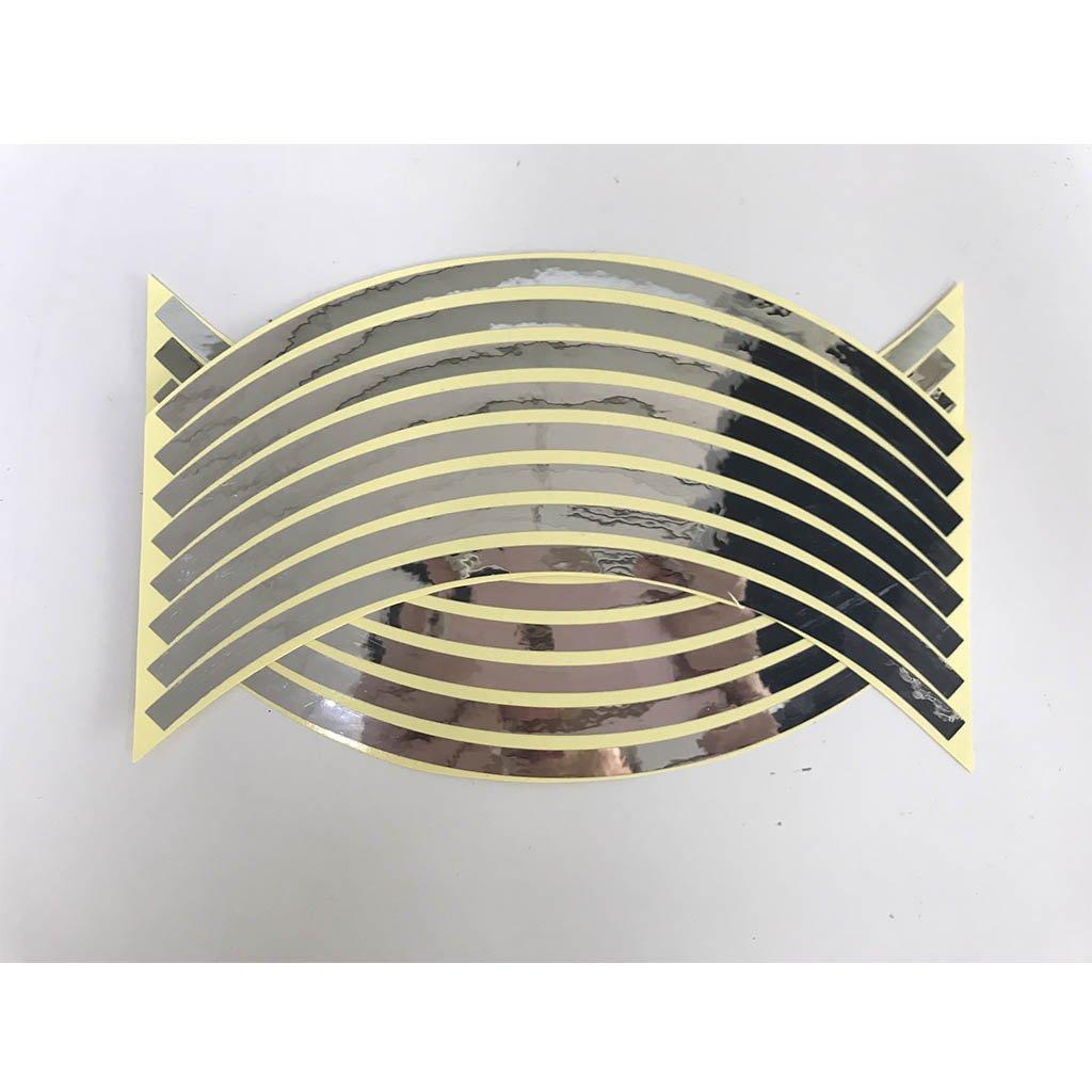 10 inch, White Reflective Wheel Rim Sticker Motorcycle Bike Decal Flame Tape