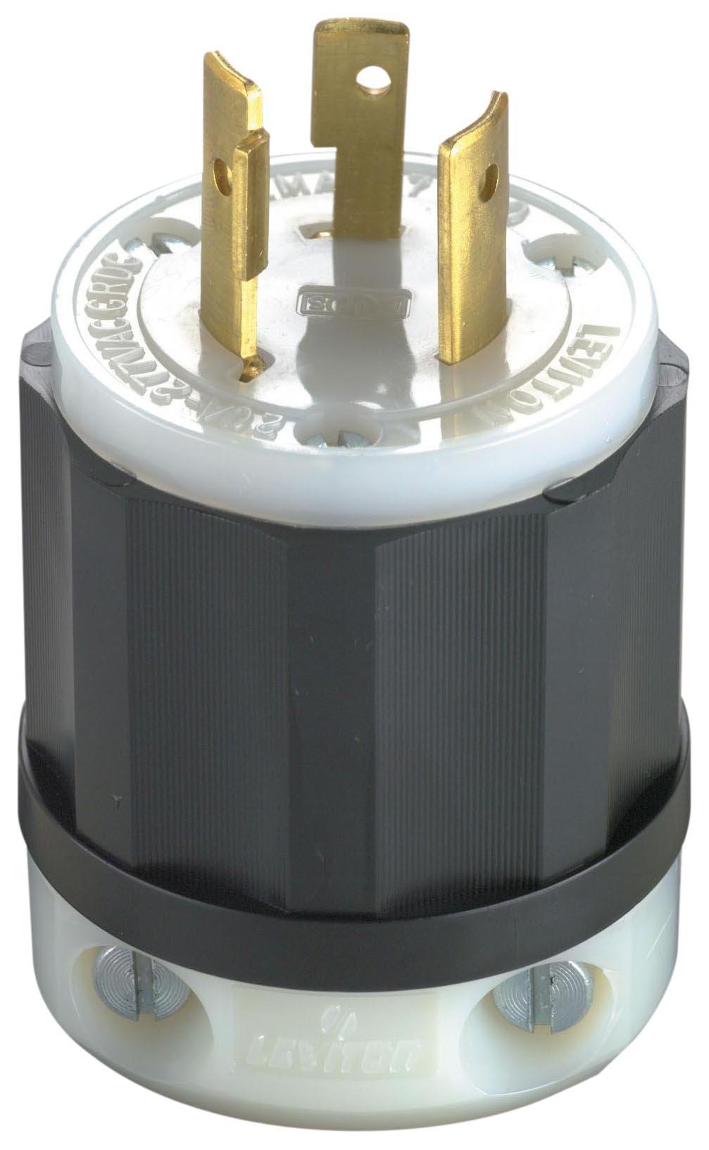 Leviton 2331 20 Amp, 277 Volt, NEMA L7-20P, 2P, 3W, Locking Plug, Industrial Grade, Grounding - Black-White