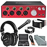 Focusrite Clarett 4Pre - Thunderbolt Audio Interface Platinum Bundle W/ Cables + Tascam Headphones + Samson Professional Dynamic Microphone + Hard Equipment Case + FiberTique Cleaning cloth