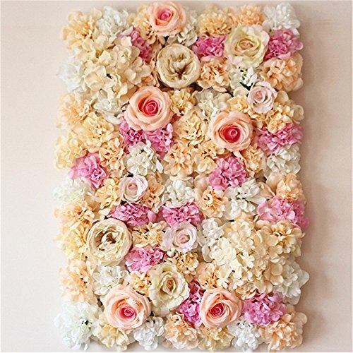 40X60cm Artificial Silk Rose Flower Wall Decoration Decorative Silk Hydrangea Wedding Decoration Backdrop (Champagne) (Wall Backdrop)