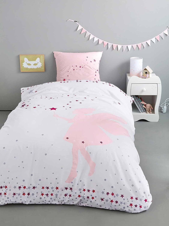 VERTBAUDET Mädchenbettwäsche'Kleine Fee' weiß bedruckt 140X150 - KISSEN 63X63