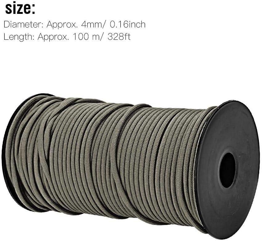 Dgtrhted 100m 9 Brins Heavy Duty 4 mm Corde de Parachute Longe Cordes Tissu Ligne Camp Corde Vert