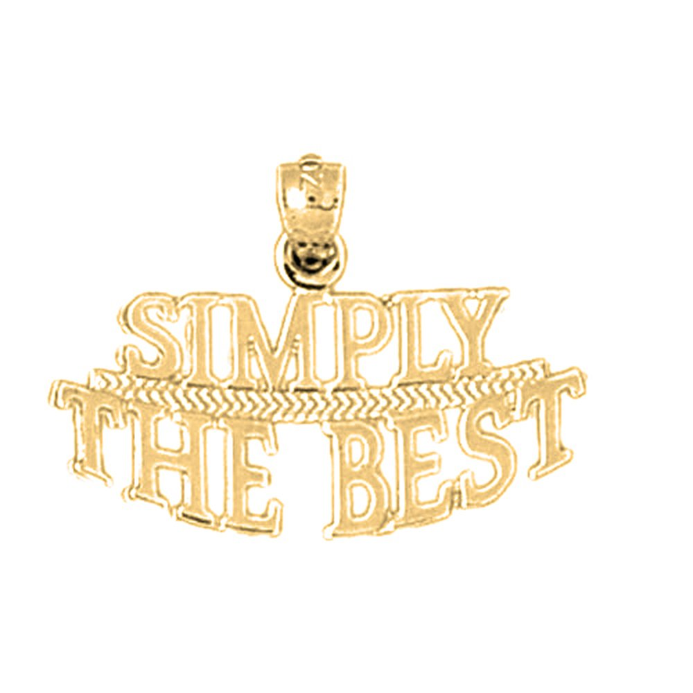 18mm Silver Yellow Plated Simply The Best Saying Pendant