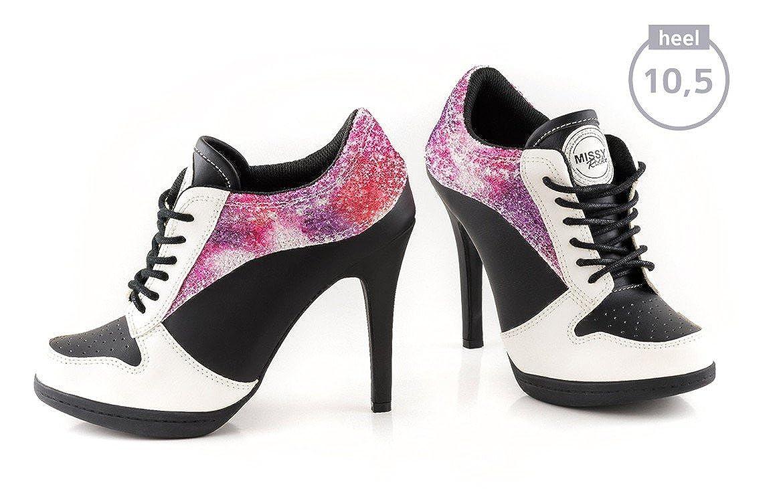 MISSY ROCKZ Bequeme Sneaker High Heels Damenschuhe Purple Sandstorm Absatz Schwarz mit 10,5 cm Absatz Sandstorm Moderne Freizeitschuhe Schwarz bc81cf