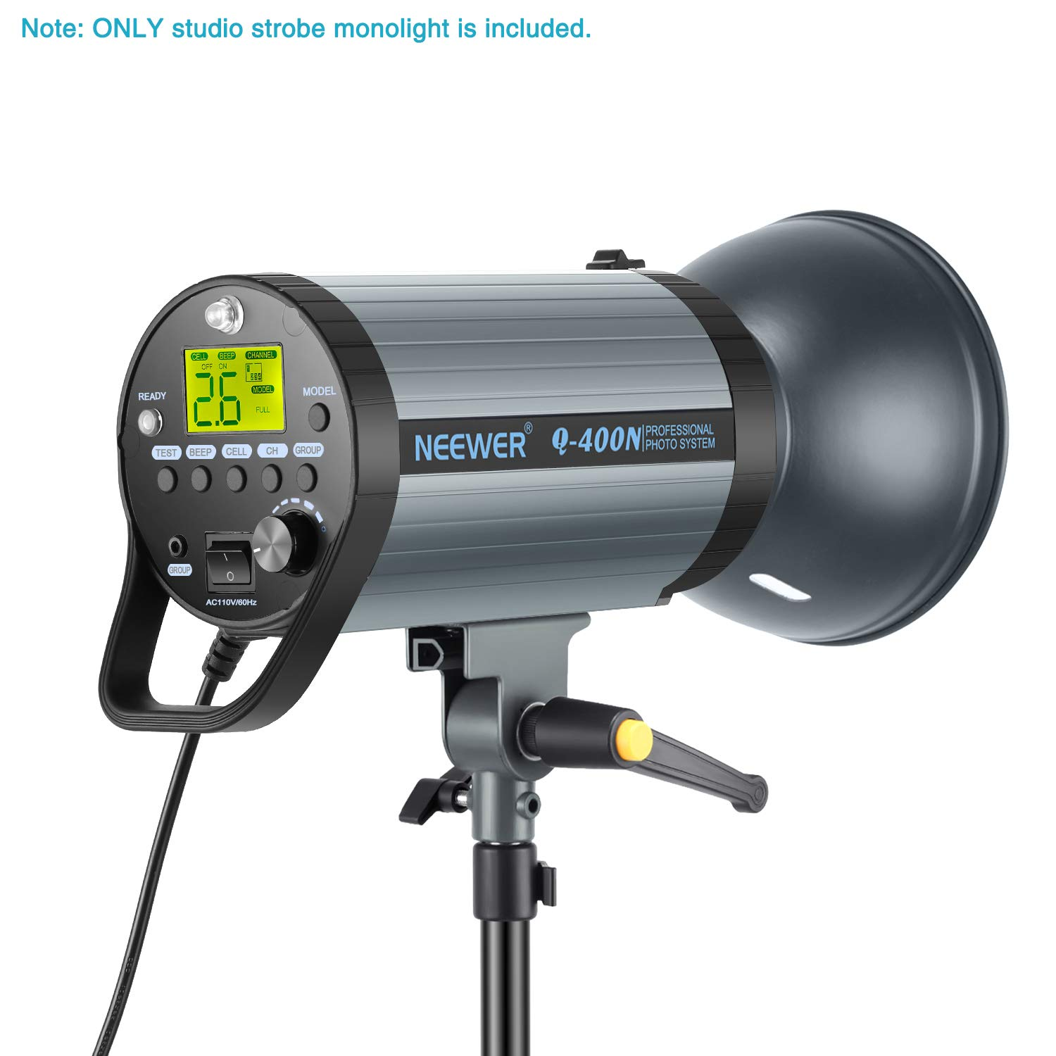Neewer 400W GN65 Studio Flash Strobe Light Monolight with 2.4G Wireless Trigger and Modeling Lamp, Recycle in 0.01-0.5 Sec, Bowens Mount for Indoor Studio Portrait Photography(Q400N) by Neewer (Image #7)