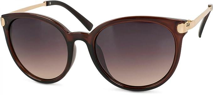 47dc8cf316122a styleBREAKER Sonnenbrille mit Katzenaugen Cat Eye Gläsern und Metall Bügel,  runde Glasform, Damen 09020073
