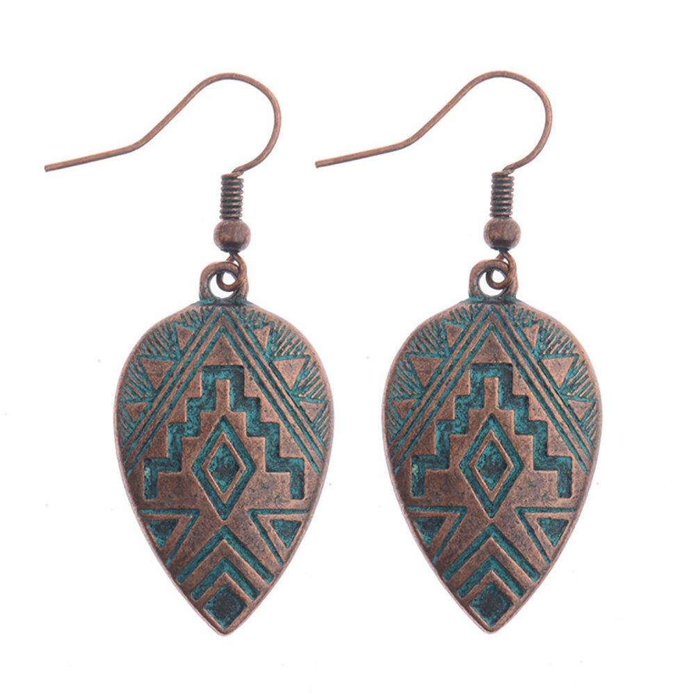 angel3292 Clearance Deals Vintage Women Ethnic Carving Leaf Shape Dangle Hook Earrings Eardrops Jewelry