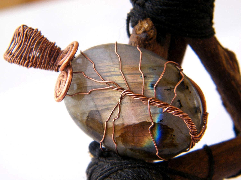 Designer Handmade Pendant Tree of Life Pendant LA-4469 Thebestjewellery Labrodorite Pendant Copper Wire Wrapped Pendant