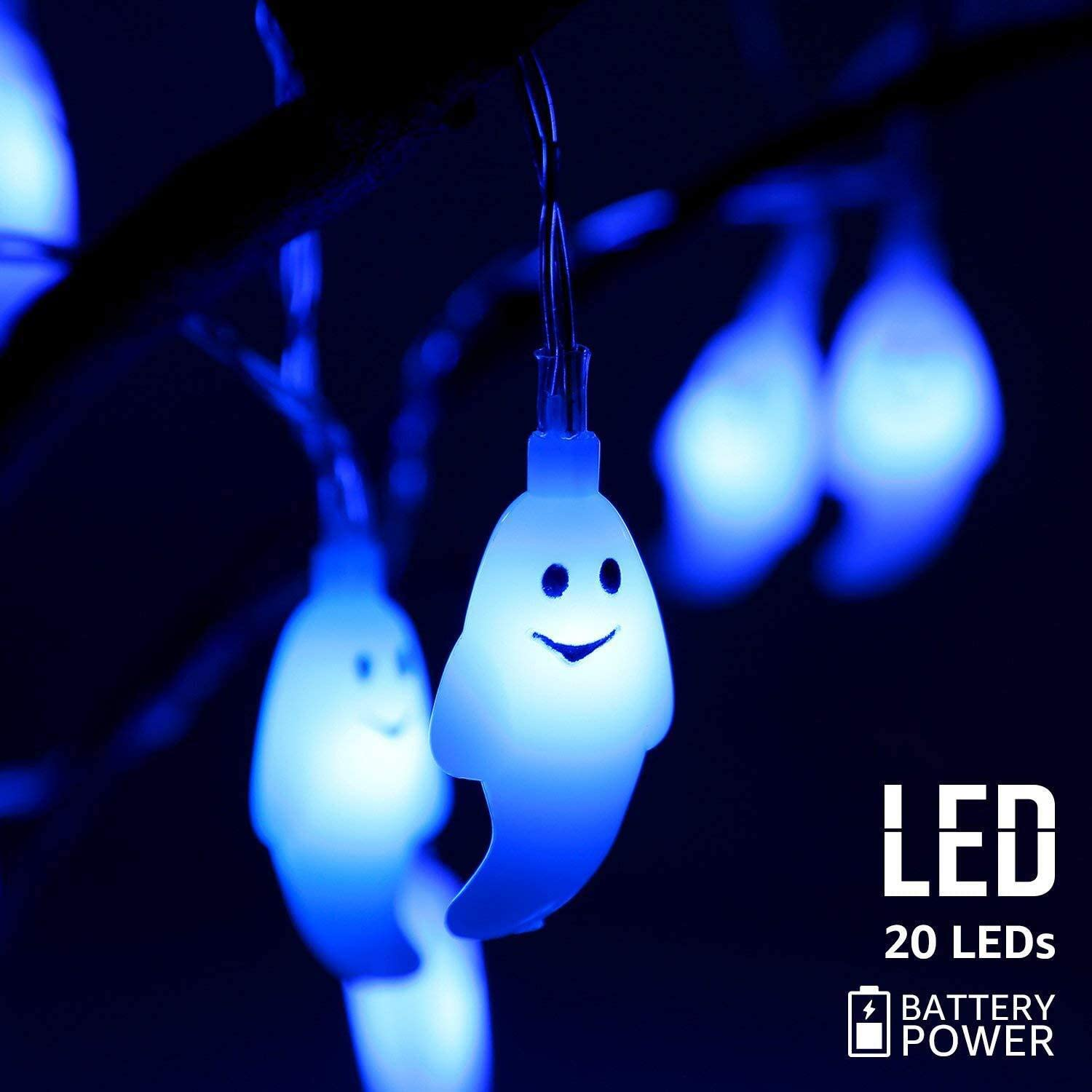 Halloween Ghost Fairy Lights 20 LEDs Battery Operated String Lights for Halloween Decorations