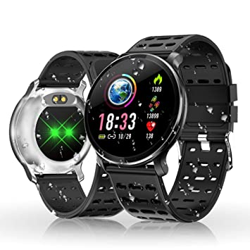 Reloj Inteligente, HOLALEI Smartwatch Pulsera Inteligente Impermeable IP68 Pantalla Color Podómetro con Pulsómetro, Monitor de Calorías, Sueño para Android ...
