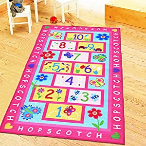 Amazoncom huahoo pink rug girls pink kids rugchildren39s for Kids carpet designs