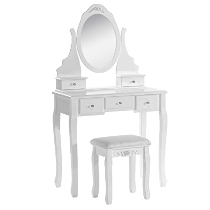 Awe Inspiring Woltu Dressing Table Makeup Furniture With Mirror And Chair Ncnpc Chair Design For Home Ncnpcorg