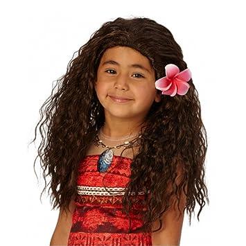 Peluca de pelo largo de color marrón Vaiana Niños del Sur Sea Princess Disney personaje niños