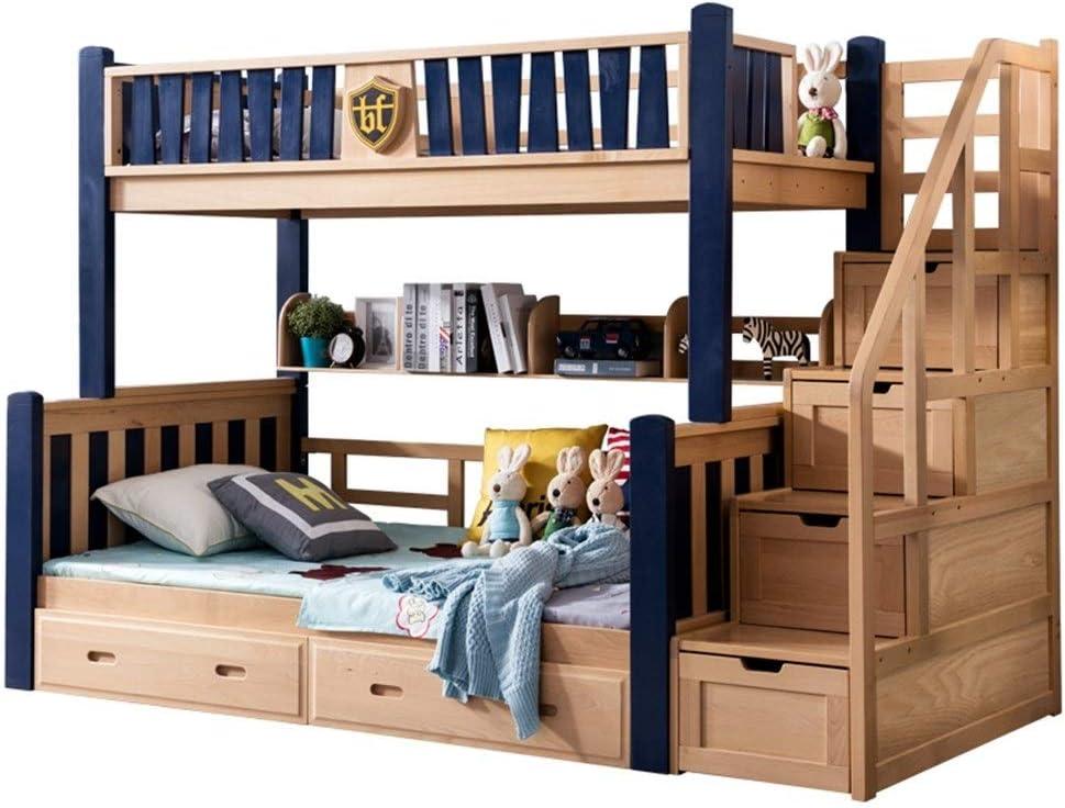 ZXM cama litera de madera maciza multifunción de dos capas cama infantil de alta y baja cama for niños adolescentes adultos con 4 cajones, compartimiento de almacenamiento inferior, superior y inferio: Amazon.es: