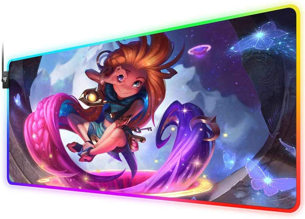 RGB Gaming Mouse Pad for League of Legends,LED Soft Extra Extended Large Mouse Pad,Anti-Slip Rubber Base,Computer Keyboard Mouse Mat 31.5 X 12 Inch Zoe