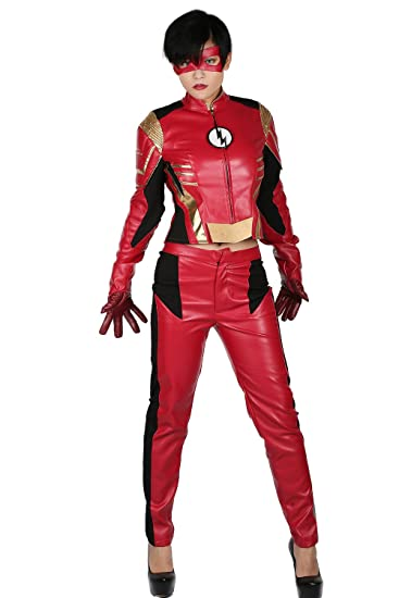Amazon.com Womens Jesse Quick Mask with Costume Suit for Halloween Cosplay Season 3 Clothing  sc 1 st  Amazon.com : the flash costume womens  - Germanpascual.Com