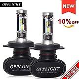 OPPLIGHT H4 LED ヘッドライト ファンレス 車検対応 12V車 バイク用 ホワイト 6500K 4000LM 30W 一体型 配線不要 2年保証 日本語取扱書 2本セット (H4 Hi/Lo)