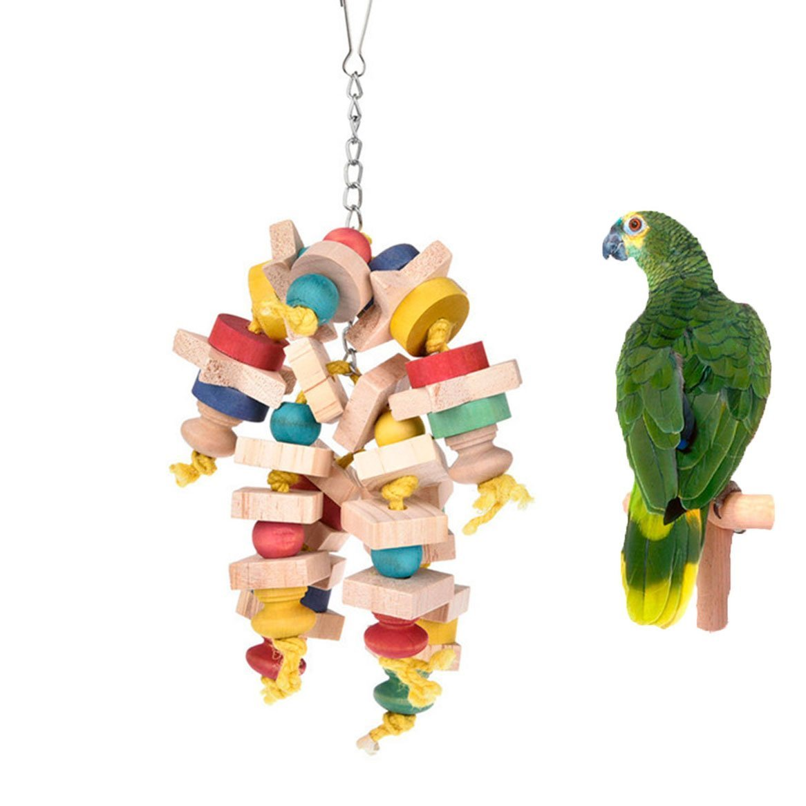 Keersi Large Bird Chew Toy Natual Wood Blocks for Bird African Grey Cockatoo Amazon Eclectus Macaw Parakeet Cockatiel Conure Lovebirds Finch Canary Budgie Cage