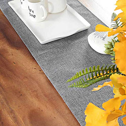 Hokic Gray Table Runner 12 x 48 inch Elegant Polyester Farmhouse Table Runner for Wedding Dining Party Decorations Thanksgiving Bridal Party -