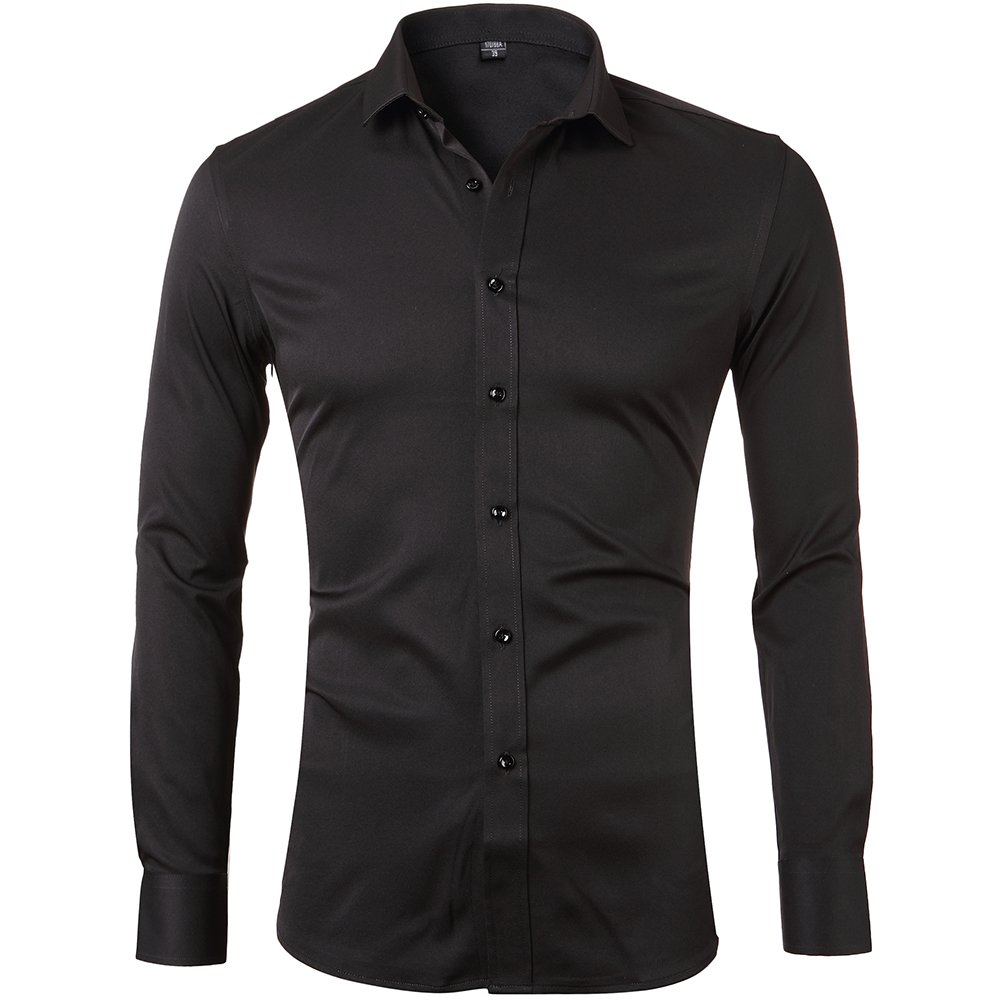 Mens Bamboo Fiber Dress Shirts Slim Fit Solid Long Sleeve Casual Button Down Shirts Elastic Formal Shirts for MenBlack Shirts 15''Neck 33''Sleeve