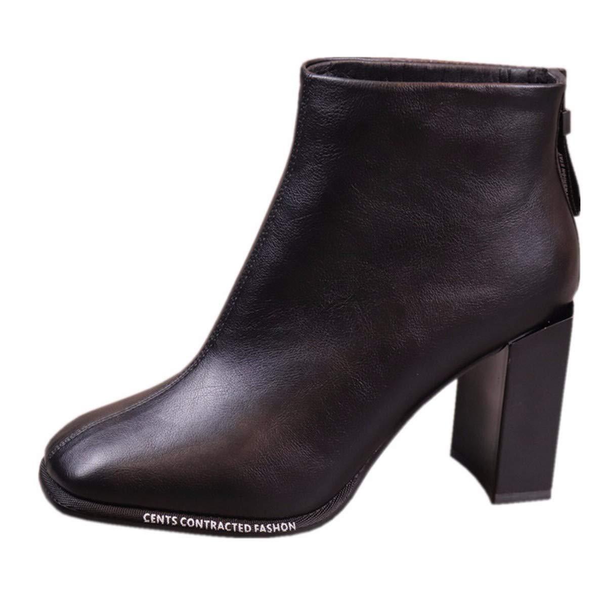 KPHY Damenschuhe Eckige Schwarze Eckige Damenschuhe 8Cm Heel Mode - Stiefeln Dicken Absätzen Winter Mode Briefe Stiefel 2f88e6