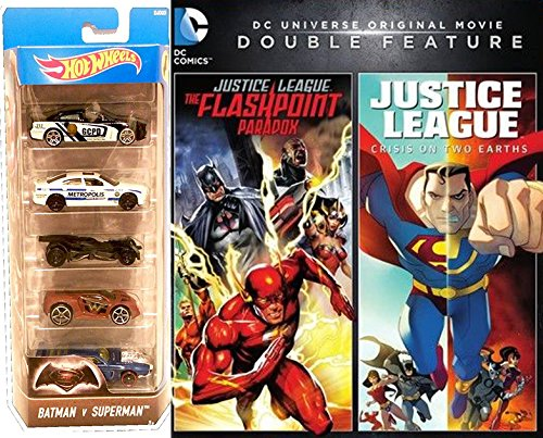 DCU: Justice League: The Flashpoint Paradox Crisis on Two Earths & Batman VS Superman Hot Wheels Bundle Movie Car Pack