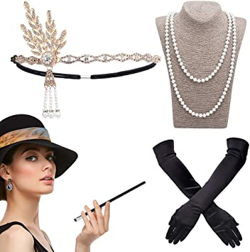 Donna 1920 S Flapper Charleston Vintage con Costume Accessorio Cappello