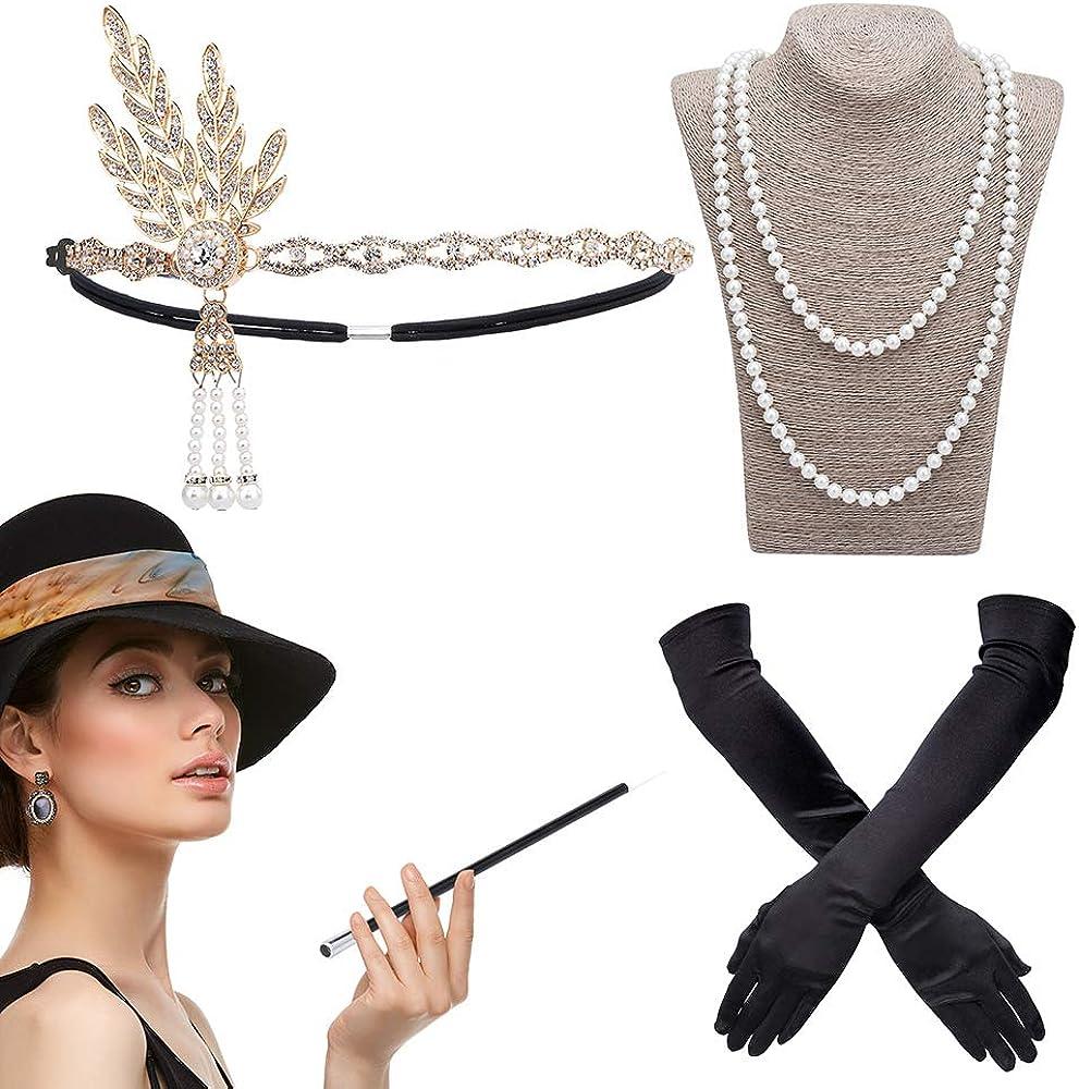 DAYPICKER Disfraces de Roaring 1920's Accesorios para disfraz de charlestón, Accessorios de Charlestón para Gran Gatsby Flapper Vintage Headband, Guantes largos de satén negro, Collar de perlas