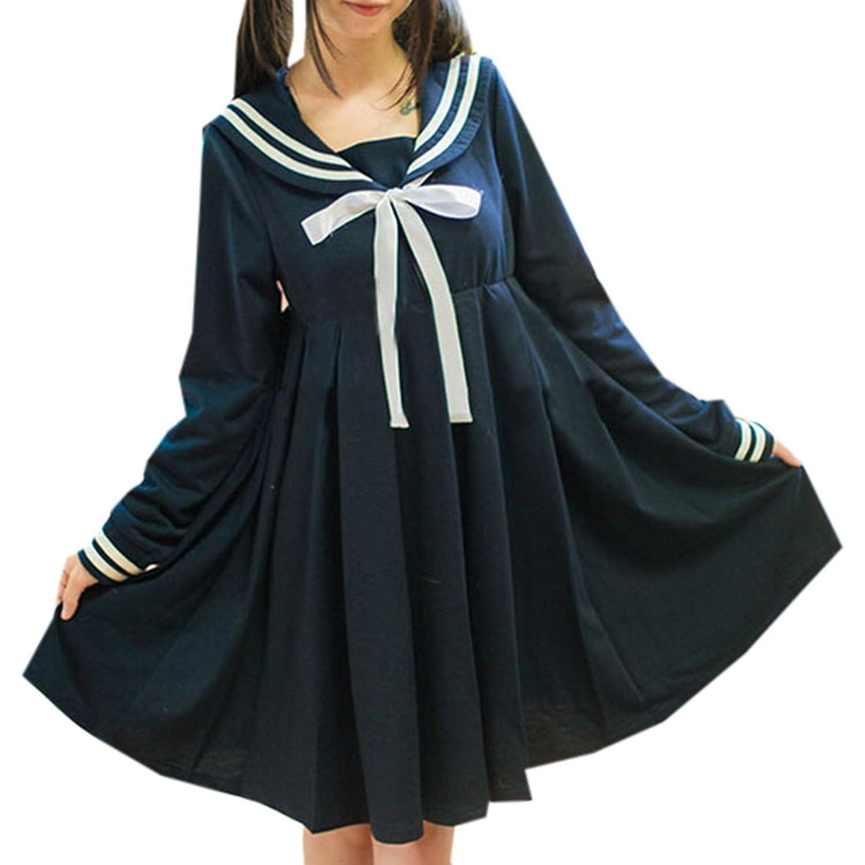 Partiss Damen Frauen hohe Taille Lolita Seemann Kleid