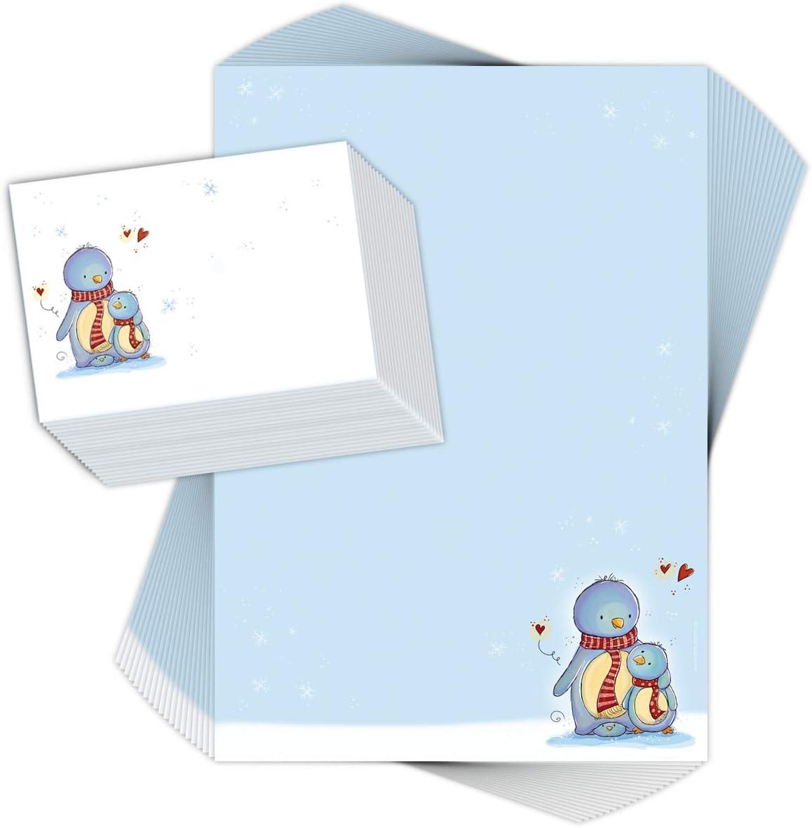 Avec 20 enveloppes Lot de 20 feuilles de papier /à lettre pour enfants Motif pingouine Papier /à lettre de No/ël pour enfant//No/ël Format A4