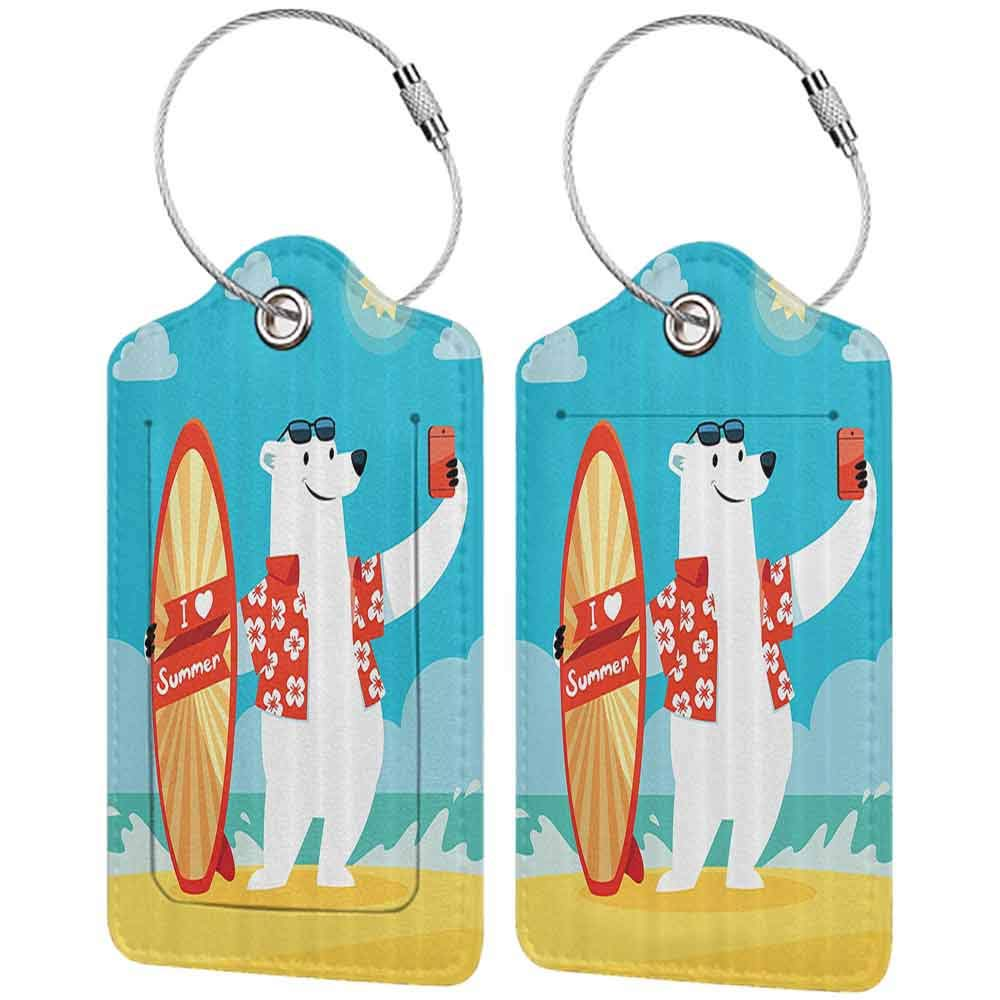 Modern luggage tag Sea Animals Decor Polar Bear With I Love Summer Surfboard Taking Selfie At The Beach Comic Fun Art Suitable for children and adults Aqua Yellow W2.7 x L4.6