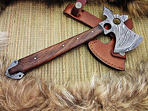 Custom Handmade Damascus Steel Tomahawk AXE Rose Wood Handle (2919)