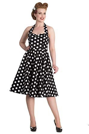 Hell Bunny 60s Black And White Polka Dot Halter Flare Party Dress