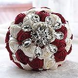 USIX Handmade Premium Customization Crystal Satin Rose Bridal Holding Wedding Bouquet Brooch Bouquet, Lace Decorated Bouquet, Wedding Flower Arrangements Bridesmaid Bouquet (Burgundy)