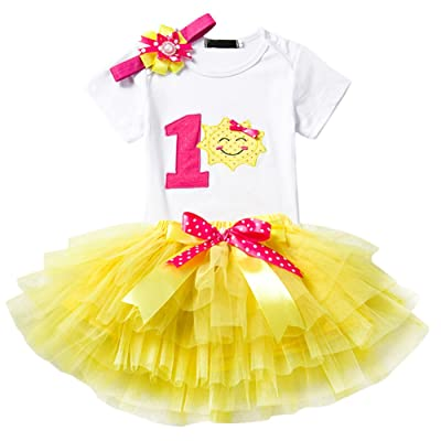 9c715e56a191 Baby Girl Newborn 1st Birthday Cake Smash 3Pcs Outfits Shinny Sequin ...